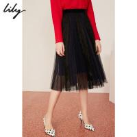 【25折到手价:199.75元】 Lily春新款女装气质双层蕾丝网纱A字中长半身裙119100C6243