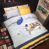 �和�四件套男孩床上用品三件套床�伪惶兹�棉可�叟�孩卡通床品定制