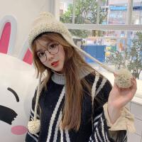 秋冬季韩版可爱雷锋帽子女球球毛线帽学生百搭加绒加厚保暖针织帽