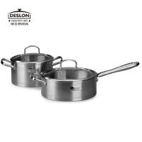 �允览食垂�汤锅优质不锈钢无烟无涂层不粘煎炒锅汤锅组合DSL-TZ006C炒锅汤锅