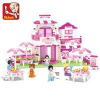 小鲁班拼装积木女孩过家家餐厅模型拼插玩具益智6-7-8-10岁早教