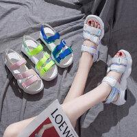 韩版原宿风学生凉鞋女 时尚百搭厚底魔术贴凉鞋 新款女士松糕沙滩鞋