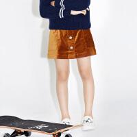 littlemoco中大童女童装复古单排扣口袋小开衩A型半身裙KA1641SKT03 moco