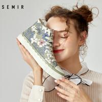 Semir帆布鞋女年春季女士休闲鞋高帮复古韩版女百搭学生单鞋