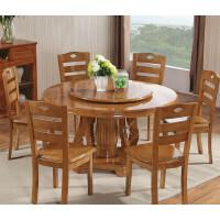 圆桌餐桌宴会桌 小户型实木餐桌椅组合圆形家用饭桌圆餐厅4/6人美式家具
