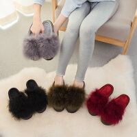厚底棉拖鞋女冬季高跟增高室内可爱家用韩版防滑毛毛居家冬天防水