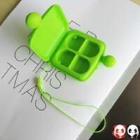 便携式带挂绳的 可爱造型四格药盒 药品收纳盒颜色随机