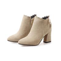 2018新款马丁靴潮女短靴甜美高跟 鞋子女粗跟短筒靴秋冬季女靴子