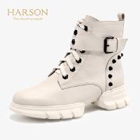 【 限时4折】哈森2019冬季新款高帮马丁靴女软牛皮革厚底英伦风短靴女HA91405