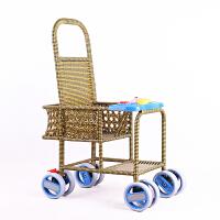 宝宝推车轻便竹藤夏季仿藤椅藤编餐椅竹编小孩儿童可坐婴儿小推车