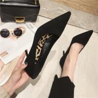 时尚简约复古风女士单鞋百搭尖头高跟鞋新款细跟女鞋黑