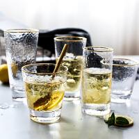 金边锤纹杯子水杯茶杯玻璃杯家用透明ins风喝水茶杯啤酒杯