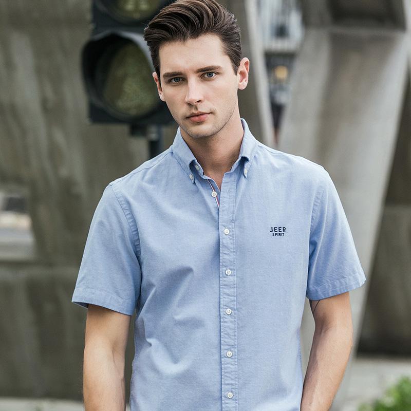 吉普JEEP短袖衬衫男装新品男2019夏季新款衬衣韩版男士外套寸衫纯色棉质衣服