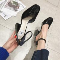 2019春季新款女鞋粗跟高跟一字扣带玛丽珍鞋复古时尚百搭低帮鞋女