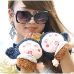 时尚女厚保暖可爱毛绒手套 韩版卡通半指手套