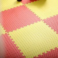 泡沫地垫拼接加厚爬爬垫家用卧室榻榻米儿童拼图爬行垫铺地板垫 红色+黄色 60*60*1.2cm【21片】送边条