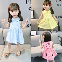 女宝宝连衣裙夏季0-1婴儿裙儿童背心裙3-5岁女童韩版夏装棉麻