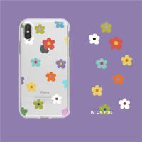 韩国大热泫雅风撞色复古卡通小花朵iphe7plus8xsmax透明手机壳