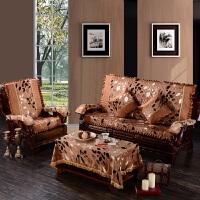 实木沙发垫坐垫带靠背加厚海绵组合套装四季通用防滑布艺简约套子k