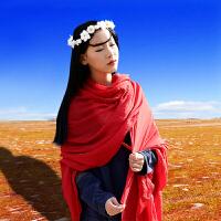 披肩棉麻围巾女士秋冬季长款红纯色百搭丝巾