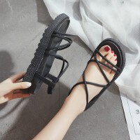 户外绑带松糕鞋女学生百搭韩版厚底凉鞋潮韩女鞋