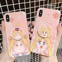 美少女战士iphoneX手机壳苹果6s/7/8plus软壳新款Xs水冰月MAX 6/6s 4.7-托脸+支架