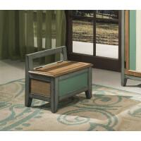 简约地中海凳 换鞋凳实木美式乡村换鞋小凳储物收纳凳鞋柜复古做旧简约