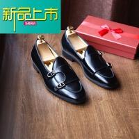 新品上市鹿三先生男士欧美街拍亮皮僧侣鞋皮鞋日常时尚一脚蹬休闲鞋 黑色