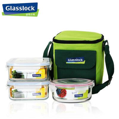 三光云彩玻璃扣GLASSLOCK玻璃饭盒微波炉保鲜盒 保温套装三件套GL30便当盒