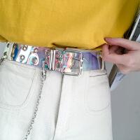 镭射透明皮带女夏天塑料宽时尚个性百搭酷潮牛仔裤带腰带女ins风