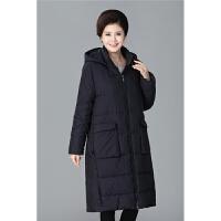 特体中老年女装冬装宽松过膝长款加肥加大胖妈妈装棉袄200斤 黑色 藏青 XL 140-160斤