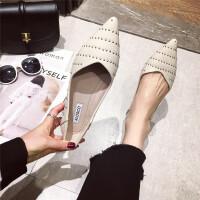 尖头单鞋女2019新款时尚浅口软底套脚单鞋铆钉时尚复古瓢鞋单鞋
