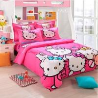 小仙女哈喽kitty四件套大学床上学生宿舍被套床单三件套单人女生 玫红色 欢乐总动员