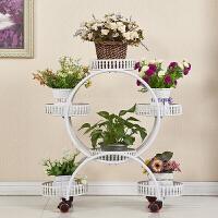 花架置物架铁艺多层带轮落地式绿萝花盆架客厅阳台花架子室内家用