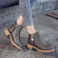ulzzang新款秋天冬季女鞋马丁靴女英伦风女靴中跟短靴短筒粗跟靴