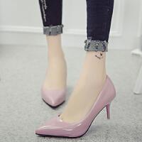 小皮鞋女春季2017新款6-7厘米韩版浅口百搭职业正装高跟鞋细跟单
