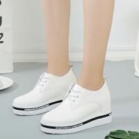 内增高女鞋10cm 韩版厚底松糕8cm系带小白鞋2018秋冬新款百搭单鞋 白色A15 8厘米