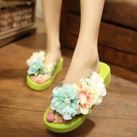 夏季波西米亚民族风人字拖鞋女士丝绸带花厚底舒适滑凉拖鞋批发