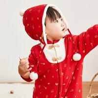 davebella戴维贝拉童装冬季新款男女宝宝婴儿新年连体衣DBW12058