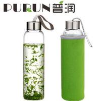 550ML玻璃杯耐热玻璃水瓶水杯 创意车载杯带盖透明茶杯 送杯套PRB13绿色