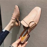 201902170549575612019春季新款女鞋包头粗跟休闲拖鞋金属扣韩版时尚百搭穆勒拖学生