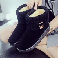 雪地靴新款冬季绒面潮女鞋平底短筒短靴松糕底加绒加厚保暖棉鞋女