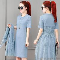 很仙的网纱吊带连衣裙套装女夏季2019新款时尚气质夏天裙子两件套