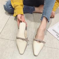 拖鞋女2019新款韩版时尚百搭外穿低跟粗跟拖鞋尖头拖鞋包头凉鞋潮