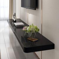 一字板电视柜 电视墙置物架一字隔板小户型客厅机顶盒架卧室壁挂墙上电视柜实木 240*25*6 cm 黑色