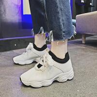 保暖加绒加棉女鞋百搭韩版运动鞋冬季学生休闲鞋ins厚底跑步鞋潮 白色 单鞋J09K