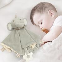 蓓臣Babytry婴幼儿玩具0-1岁宝宝BB毛绒响声棒+动物安抚巾口水巾汗巾套装