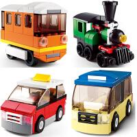 兼容乐高积木创意百变交通工具工程车火车陆军特警队组装拼插拼装积木男孩女孩儿童玩具礼物