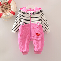 婴儿连体衣服冬季初生女宝宝哈衣冬装12满月0岁3个月6新生儿