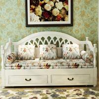 欧式客厅小户型多功能实木沙发床 1.21.5欧式田园储物实木沙发床 1.8米-2米
